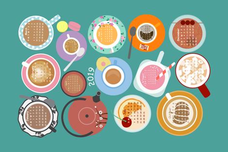 Cups! New Edition 2019 Calendar Tea Towel fabric by sarahparr on Spoonflower - custom fabric
