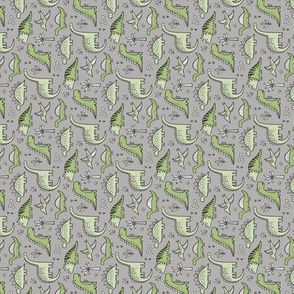 Dinosaurs in Green on Grey Tiny Small Rotated
