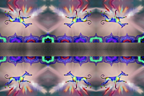 Rainbow Hound Step out skyward-bigger -For cushions- fabric by cloudsong_art on Spoonflower - custom fabric