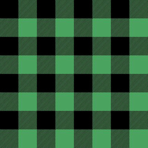 "1"" Black + Kelly Green Buffalo Plaid – Lumberjack Buffalo Check"