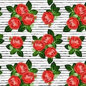"""4"""" Red Roses - Black Stripes"""