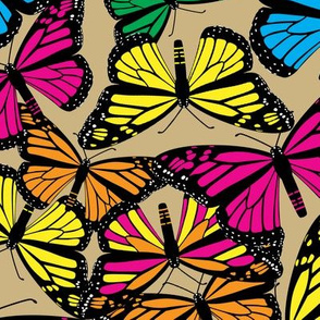 Multi Butterflies on Light Gold