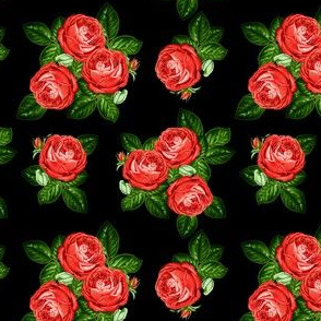 "4"" Red Roses - Black"