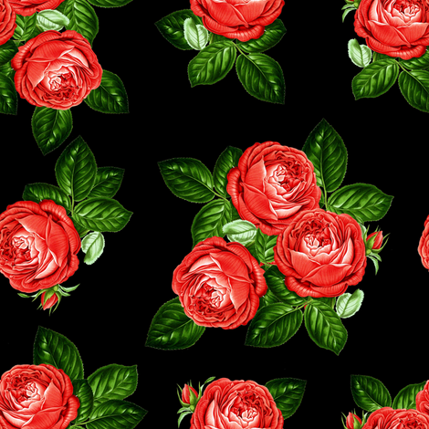 """8"""" Red Roses - Black fabric by shopcabin on Spoonflower - custom fabric"""