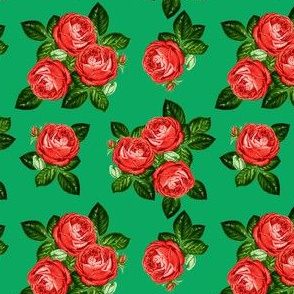 """4"""" Red Roses - Green"""