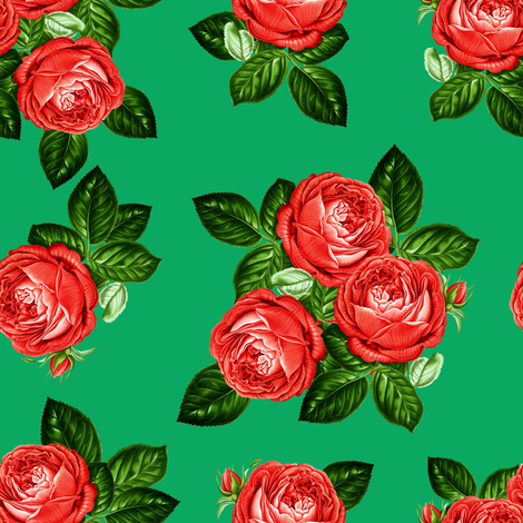 """8"""" Red Roses - Green fabric by shopcabin on Spoonflower - custom fabric"""