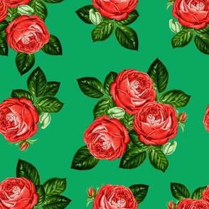"""8"""" Red Roses - Green"""