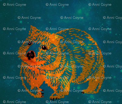 The Constellation Wombat trot-OrangeOnTeal-Lighter