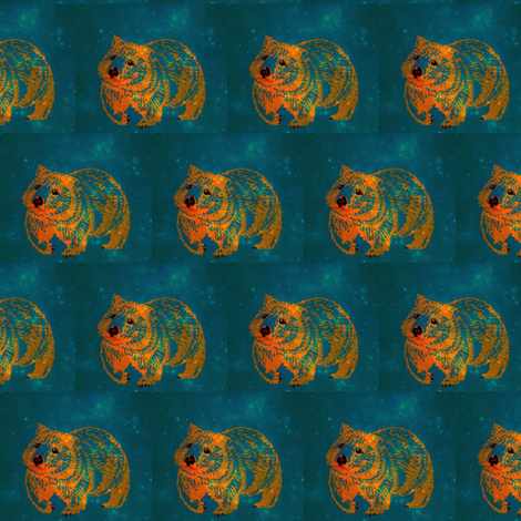 The Constellation Wombat trot-OrangeOnTeal-Lighter fabric by cloudsong_art on Spoonflower - custom fabric