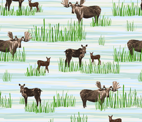 Moose Life fabric by rousehousedesign on Spoonflower - custom fabric