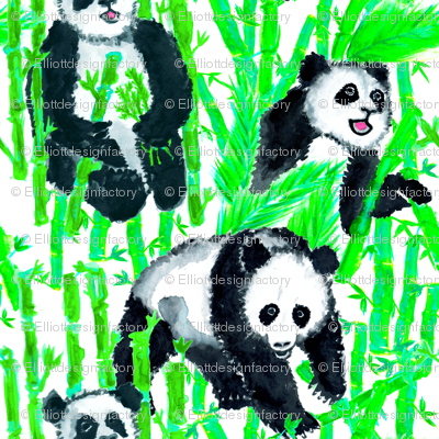 Painted Giant Pandas in Bamboo Green + White