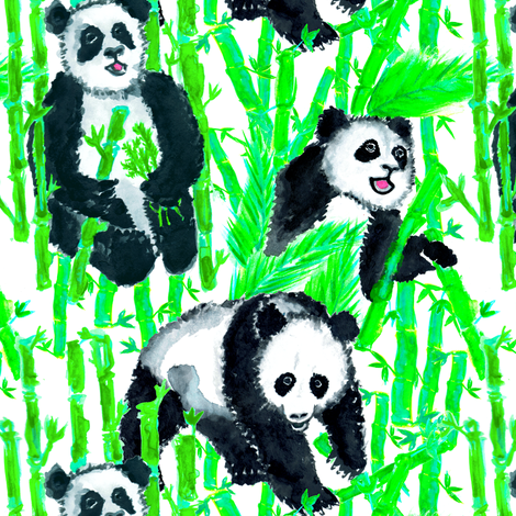 Painted Giant Pandas in Bamboo Green + White fabric by elliottdesignfactory on Spoonflower - custom fabric