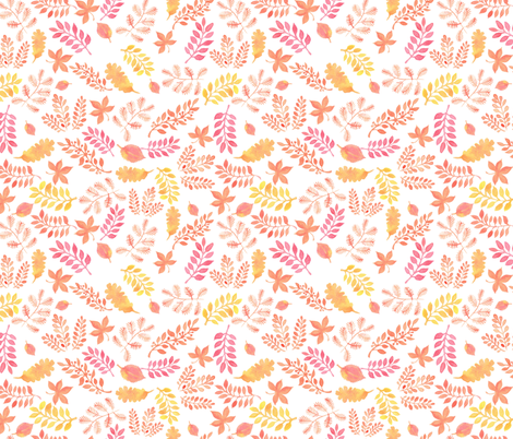 watercolor autumn leaves fabric by zazulla on Spoonflower - custom fabric