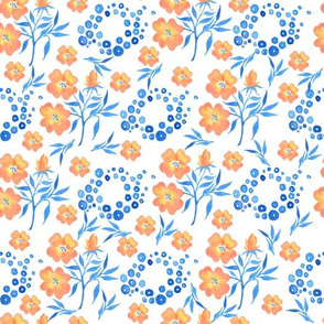 Seamless pattern with buttercups and blue leaves