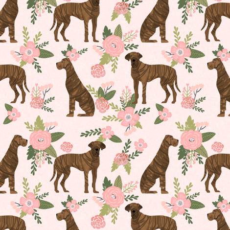 great dane brindle coat pet quilt d collection coordinate floral fabric by petfriendly on Spoonflower - custom fabric