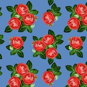 "4"" Red Roses - Dark Blue"