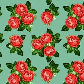 """4"""" Red Roses - Muted Green"""