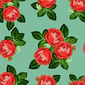 """8"""" Red Roses - Muted Green"""