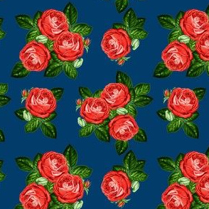 """4"""" Red Roses - Navy"""