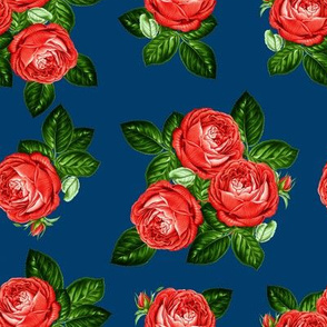 """8"""" Red Roses - Navy"""