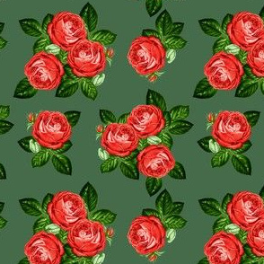 """4"""" Red Roses - Olive Green"""