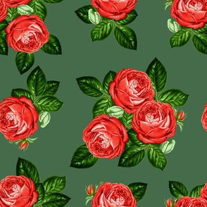 "8"" Red Roses - Olive Green"