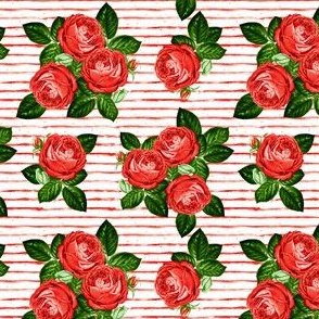 """4"""" Red Roses - Red Stripes"""
