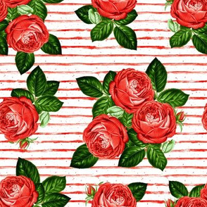 """8"""" Red Roses - Red Stripes"""
