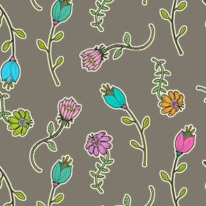 Whimsical Garden Flowers on Taupe, Botanicals, Pink Floral