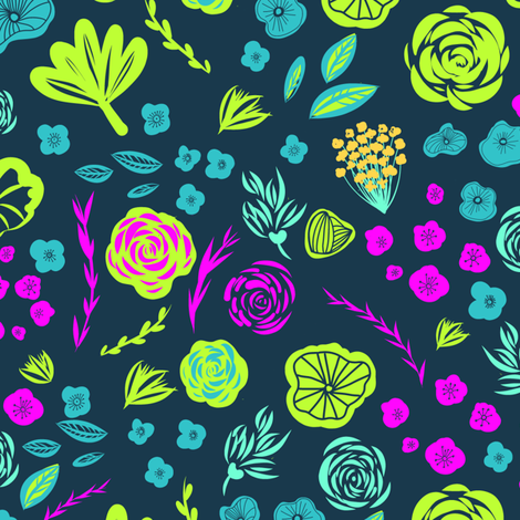 Tropical Floral - Dark Background fabric by carolinacotoart on Spoonflower - custom fabric