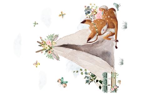 "56""x36"" Botanical Boho Deer fabric by shopcabin on Spoonflower - custom fabric"