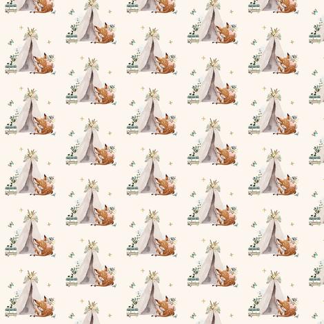 "1.5"" Botanical Boho Deer - Ivory fabric by shopcabin on Spoonflower - custom fabric"