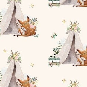 "4"" Botanical Boho Deer - Ivory"