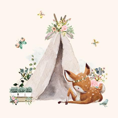 "8"" Botanical Boho Deer - Ivory fabric by shopcabin on Spoonflower - custom fabric"