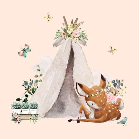 "8"" Botanical Boho Deer - Peach fabric by shopcabin on Spoonflower - custom fabric"
