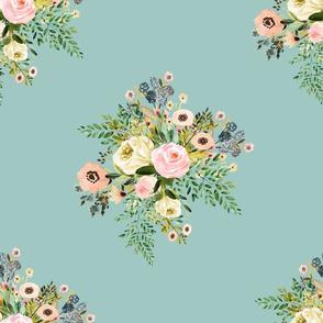"14"" Botanical Boho Florals - Dry Green"