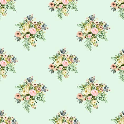 "4"" Botanical Boho Florals - Mint Green fabric by shopcabin on Spoonflower - custom fabric"