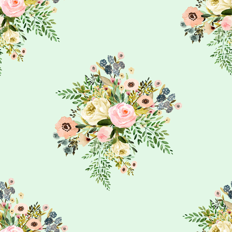 "8"" Botanical Boho Florals - Mint Green fabric by shopcabin on Spoonflower - custom fabric"