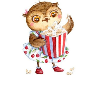 Cute Owl with Popcorn