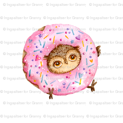 Cute Owl With Doughnuts