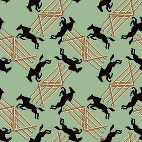 Black Jumping Horses on Green