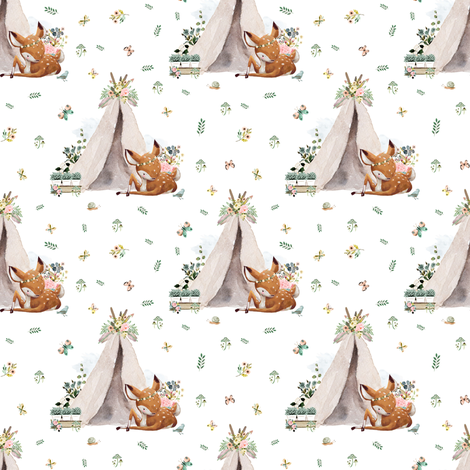"4"" Boho Botanicals Deer Mix & Match - White fabric by shopcabin on Spoonflower - custom fabric"