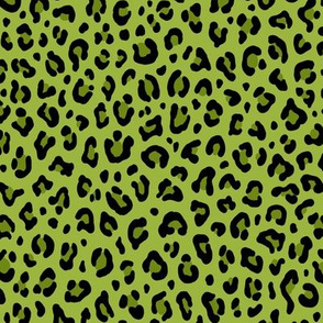 ★ PSYCHOBILLY LEOPARD – LEOPARD PRINT in ACID GREEN ★ Small Scale / Collection : Leopard spots – Punk Rock Animal Print