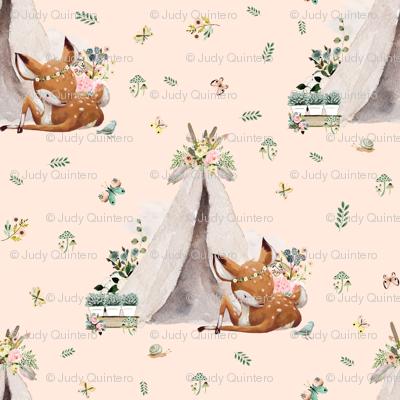 """8"""" Boho Botanicals Deer Mix & Match - Peach"""
