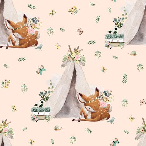 "8"" Boho Botanicals Deer Mix & Match - Peach fabric by shopcabin on Spoonflower - custom fabric"