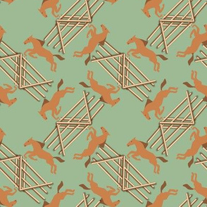 Chestnut Jumping Horses on Green