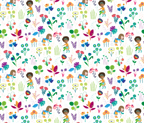 Happy flower garden - small fabric by lahna_winter on Spoonflower - custom fabric