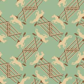 Claybank Dun Jumping Horses on Green