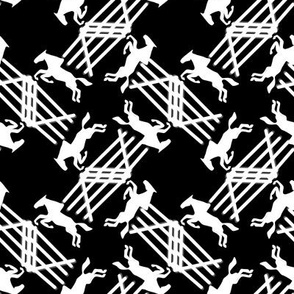 White Silhouette Jumping Horses on Black
