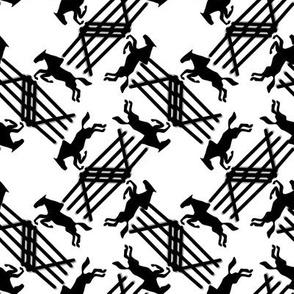 Black Silhouette Jumping Horses on White